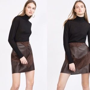 ZARA leather and suede mini skirt